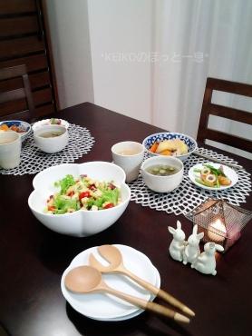 お星様のサラダとスープの夜ごはん