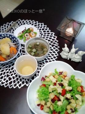 お星様のサラダとスープの夜ごはん2