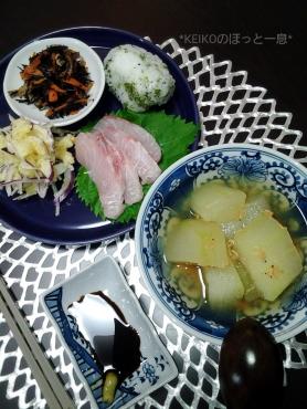 冬瓜と子エビの煮物で晩ごはん