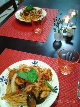 ハーブチキンと野菜たっぷりトマトパスタ3