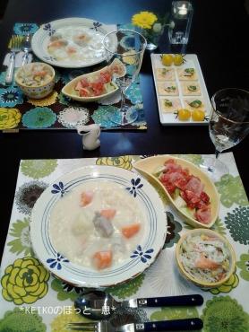 クリームシチューと無花果のサラダ