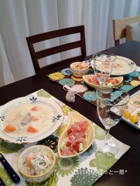 クリームシチューと無花果のサラダ2