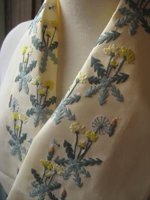 タンポポベトナム手刺繍半襟