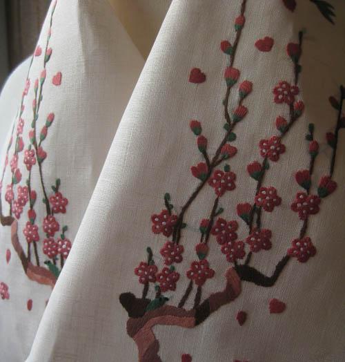 梅に鶯ベトナム手刺繍半襟