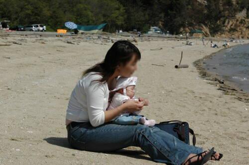 5月5日長浜ビーチ母子