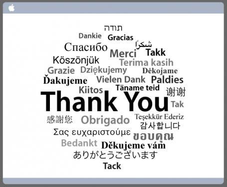 アップル「ありがとうございます」メッセージ