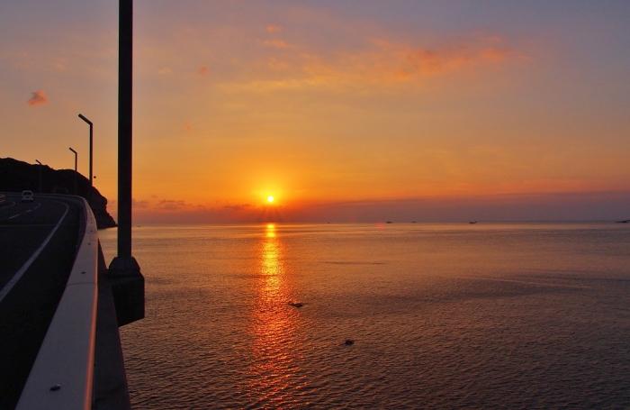 甑大明神橋の夕景