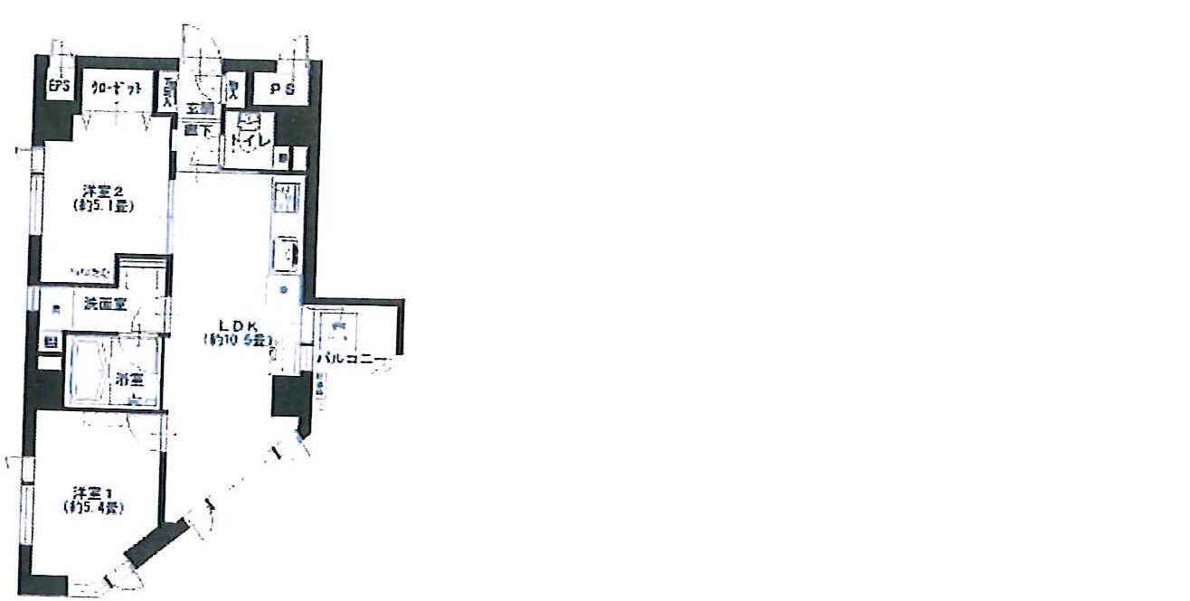 池上パークホームズ405号間取り図