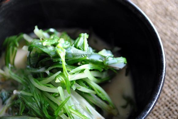 豆乳と水菜