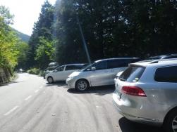 一番下の待避所まで車がいっぱい