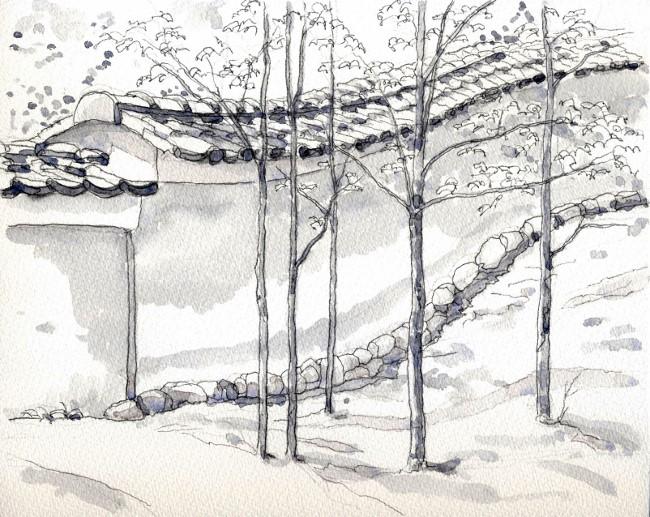 金閣寺の境内 グリザイユ (650x517)