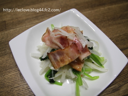 小松菜と大根のサラダ~カリカリベーコンのせ~
