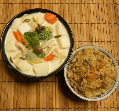 焼き鳥缶とゴボウの炊き込みご飯クリームチーズみそシチュー13