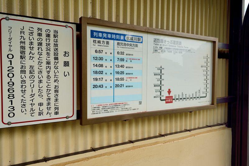 鹿児島 指宿枕崎線の水成川駅時刻表がいい感じになっている