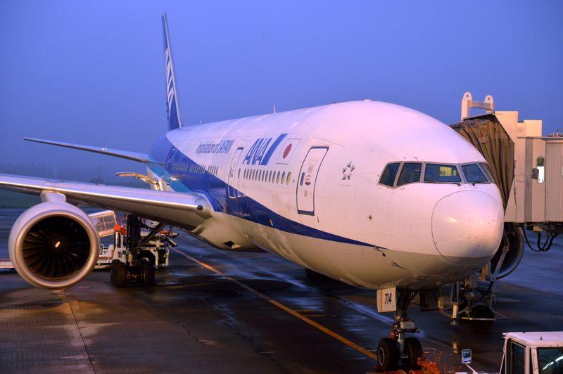 鹿児島空港 鹿児島空港待合室からANAの飛行機を覗く
