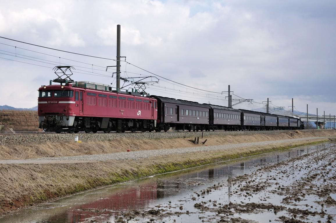 2014.03.22 1446_44(1) 岩船町~村上 回9935レ EF81 134+在来形客車+C57 180s1.2