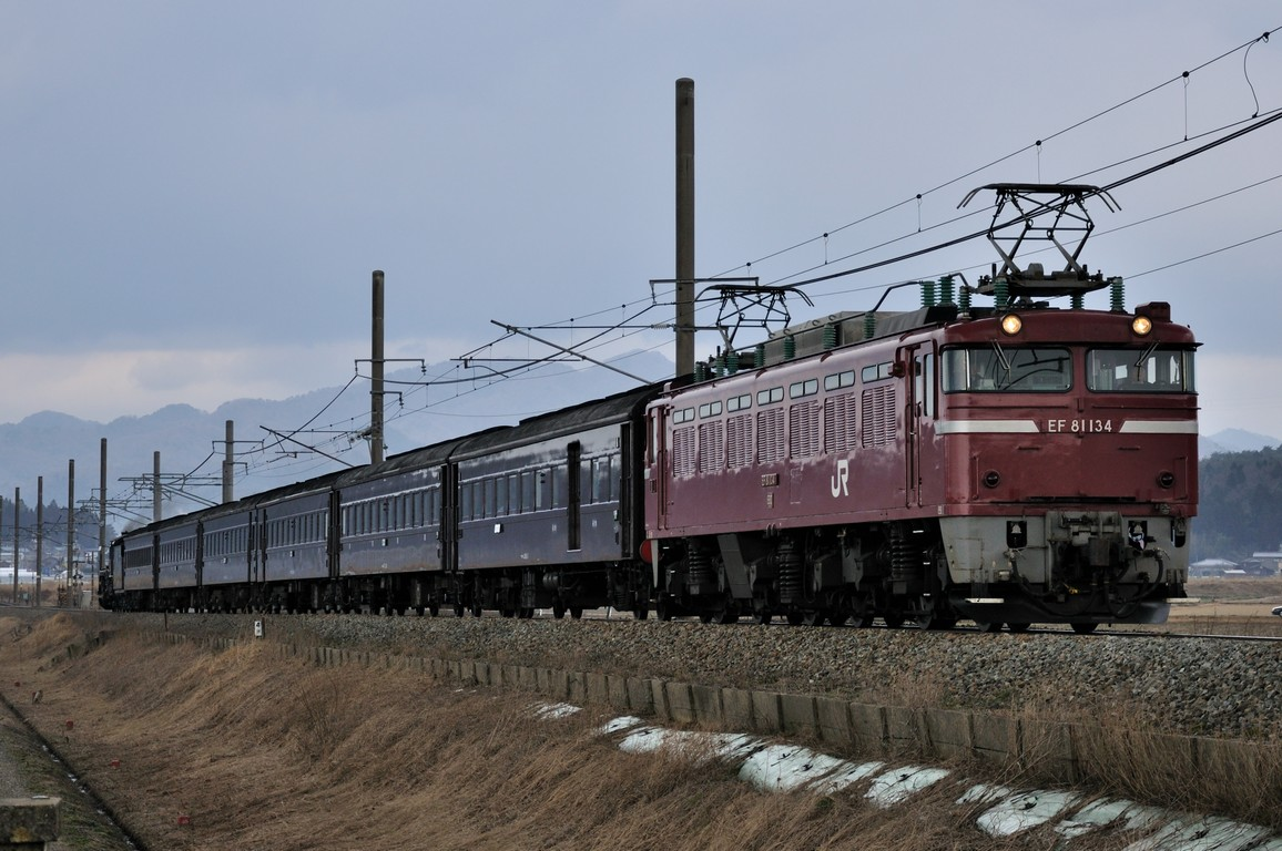 2014.03.23 1152_20(3) 岩船町~村上 回9934レ EF81 134+在来形客車+C57 180s0.5