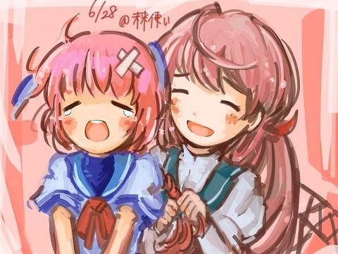 またピンク髪ペア
