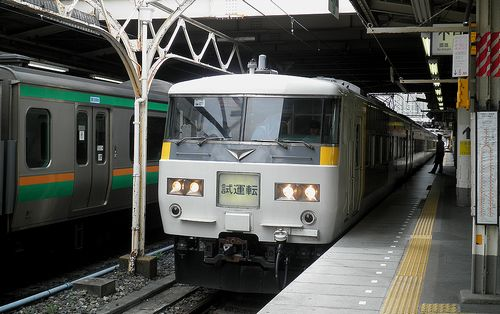 宮オオ185系・OM07編成(「上野東京ライン」試運転・上野駅・2014年9月5日)