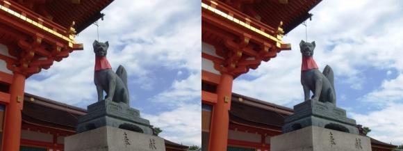 伏見稲荷大社 楼門 宝珠の狐像(平行法)