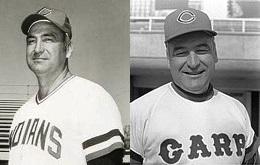 ジョー・ルーツ インディアンスコーチ時代(左)/カープ監督時代(右)