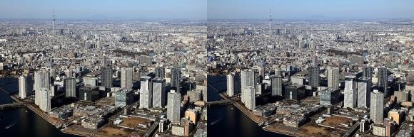 豊洲・東京スカイツリー空撮(平行法)