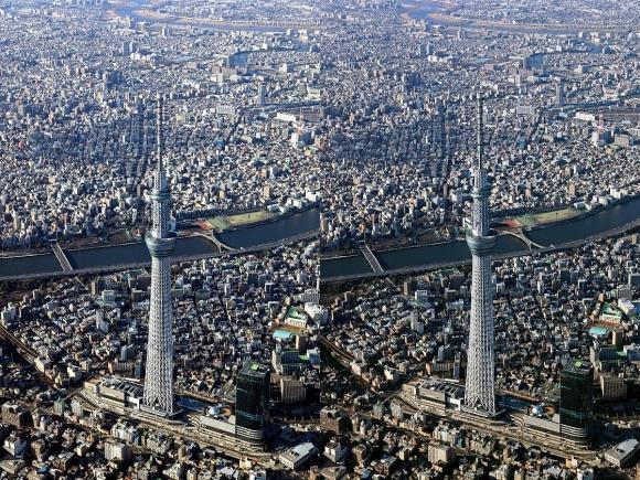 東京スカイツリー空撮(交差法)