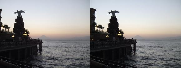 江の島 富士山落陽④(平行法)