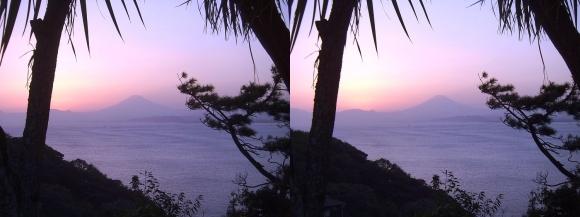 江の島 富士山落陽③(平行法)