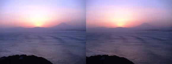 江の島 富士山落陽②(交差法)