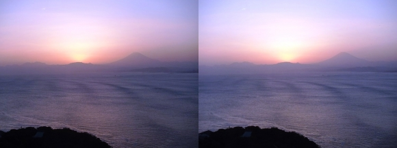 江の島 富士山落陽②(平行法)