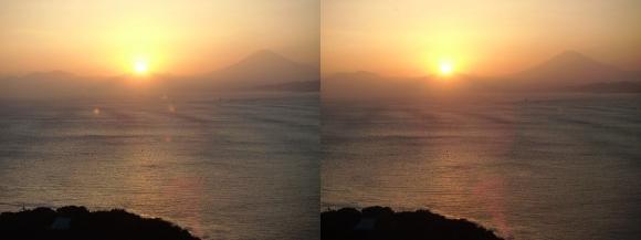江の島 富士山落陽①(交差法)