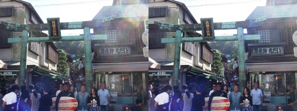 江島神社 青銅の鳥居(平行法)