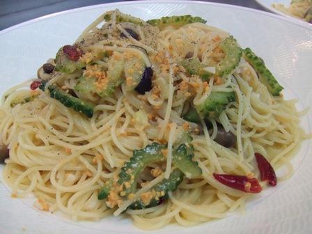 自家菜園夏野菜のカラスミペペロンチーノ