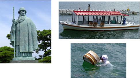 御木本幸吉像と海女による真珠貝の採集