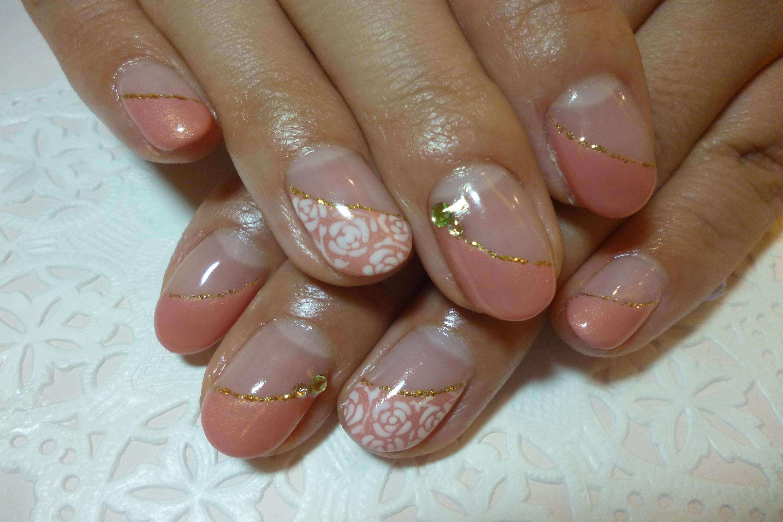 2014ネイルデザイン 上品ピンクフレンチ ジャガード風手描きバラアートネイル