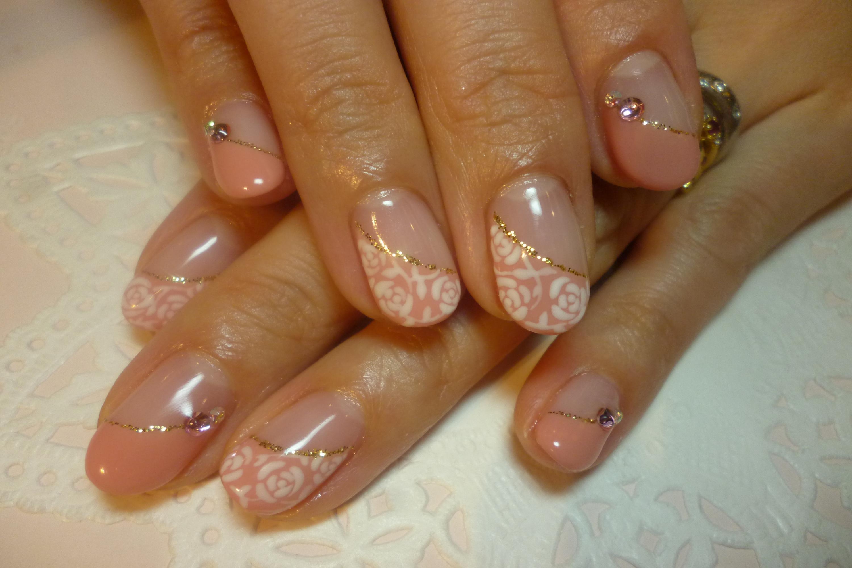 2014ネイルデザイン ローズピンク斜めフレンチ ジャガード風手描きバラアートネイル