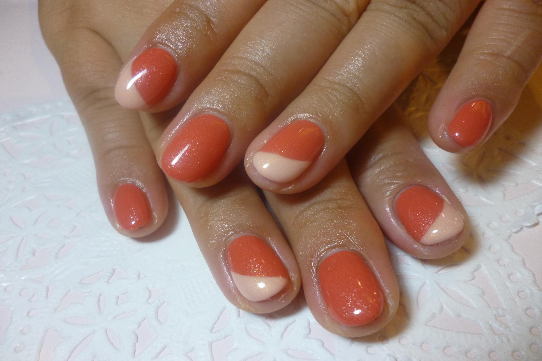 2014ネイルデザイン オレンジワンカラーネイル 斜めフレンチネイル