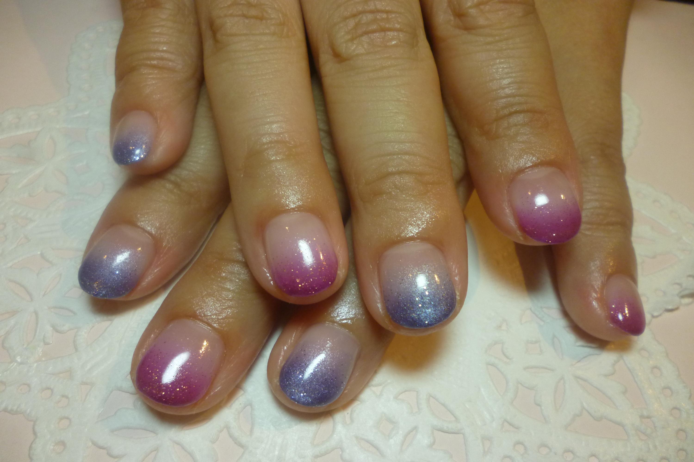 2014ネイルデザイン 赤紫×青紫 カラーグラデーションネイル