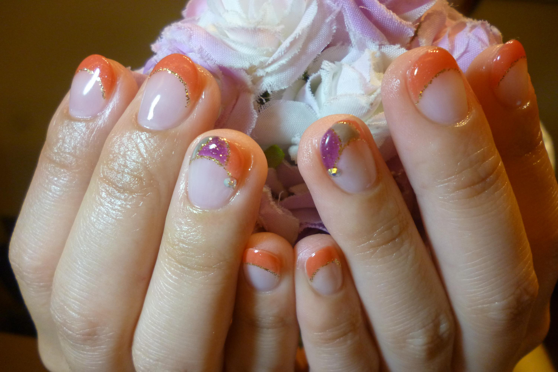 2014ネイルデザイン 秋色こっくりオレンジフレンチネイル ポイントプッチ柄ネイル