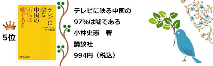 a5位テレビに映る中国の97%