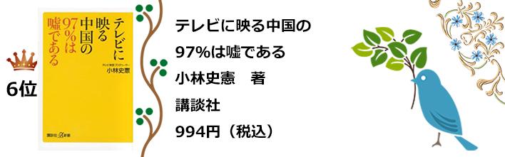 a6位テレビに映る中国の97%