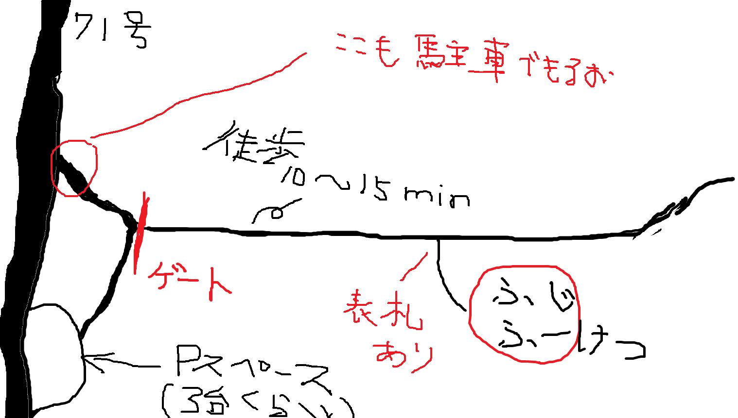 富士風穴一帯のMAP