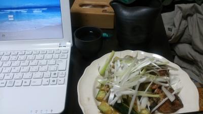 サバ味噌煮とキュウリの炒め物
