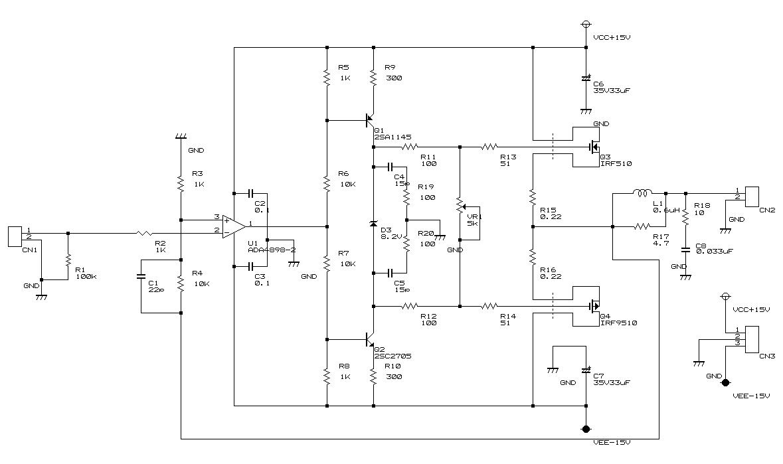 オーディオampの製作 プリメインアンプ回路図