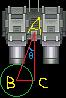 回転する砲台の先端座標取得のための角度計算について(弾の中心座標基準版)
