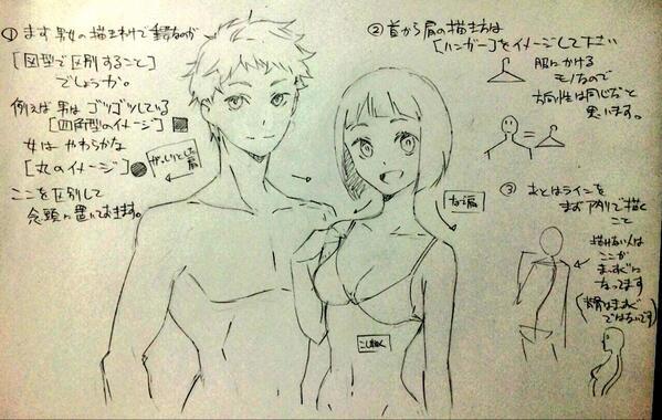 男性女性の胴体の描き分け00