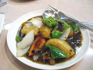 白身魚の黒豆ソース炒め