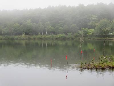 霧に覆われた女神湖