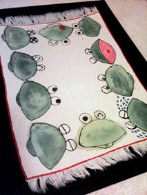 カエルの花瓶敷き